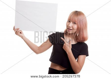 Young Asian Woman Point To  Blank Sign.