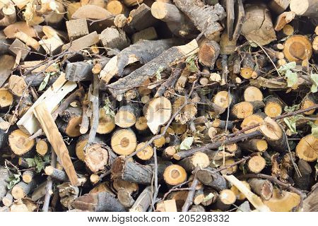 firewood as background . Photo as an abstract background