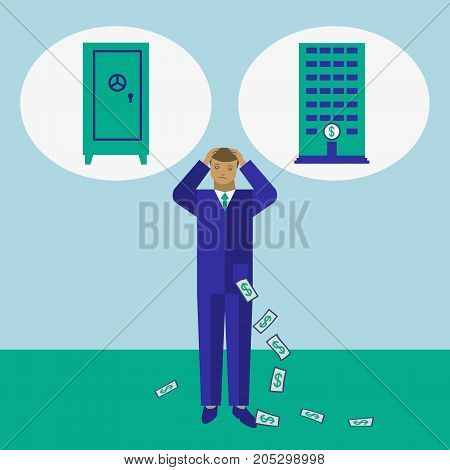 Businessman decide where to keep his money - in safe or in bank vector concept illustration