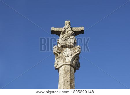 St. Mary Madonna sculpture with shell a symbol of the route passing through Alcuescar called Silver Route or Mozarabic Way Extremadura Spain