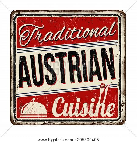 Traditional Austrian Cuisine  Vintage Rusty Metal Sign