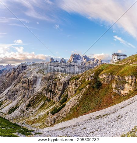 DOLOMITES,ITALY - SEPTEMBER 15,2017 - View at the nature with hut in Dolomites. The Dolomites are a mountain range located in northeastern Italy.