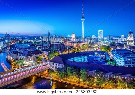 the skyline of berlin at the blue hour