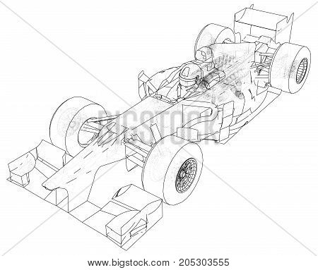 Race car. Wire-frame. EPS10 format. Vector created of 3d