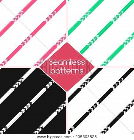 Set . Strips. Seamless patterns of arrow-strip.