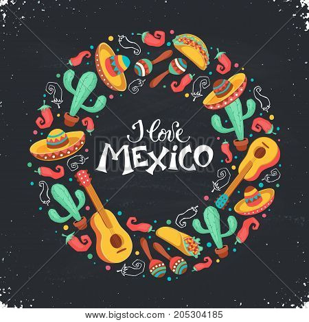 I love Mexico poster  in circle shape. Mexican culture attributes collection. Guitar, sombrero, maracas, cactus and jalapeno isolated on light background. Mexico greeting card.