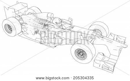 Racing car. Wire-frame. EPS10 format. Vector rendering of 3d