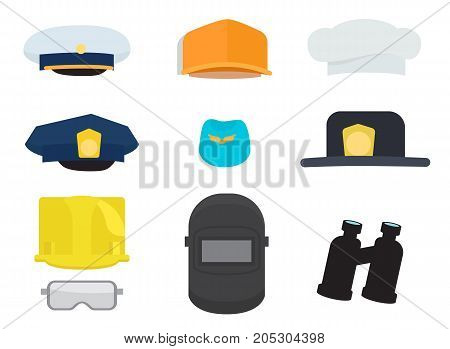 Vector illustration of cap of sailor, policeman and cook, blue forage-cap, black hat, welding mask, two helmets and safety glasses, dark binoculars.