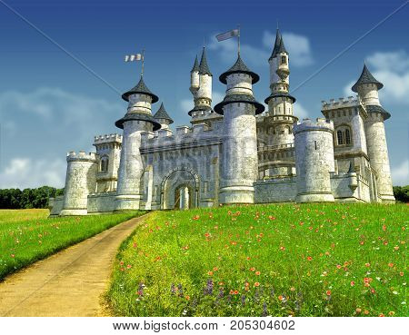 3D rendering of an enchanting fairy tale princess castle on a green hill.