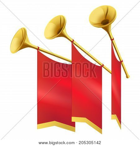 Three Musical golden trumpet decorates red flags on white background. Fanfares and music on way out vector illustration.