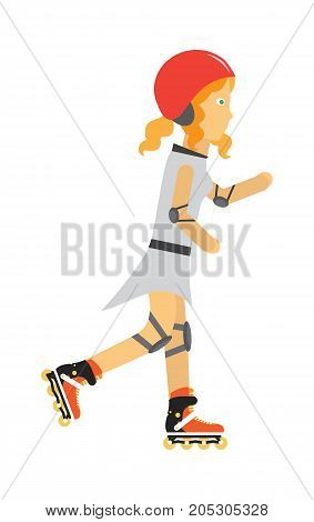 Roller skater vector. Female character in helmet, elbow, knee protection on rollers. Sports equipment flat illustration. Summer fun and entertainments. For sport concepts, advertising, web design