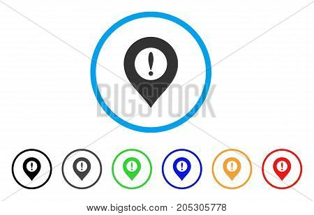 Caution Marker rounded icon. Style is a flat caution marker gray symbol inside light blue circle with black, gray, green, blue, red, orange color versions.