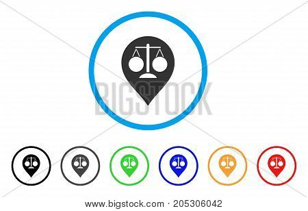 Court Map Marker rounded icon. Style is a flat court map marker grey symbol inside light blue circle with black, gray, green, blue, red, orange color versions.
