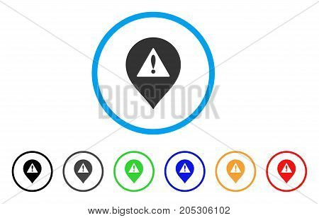 Danger Map Marker rounded icon. Style is a flat danger map marker grey symbol inside light blue circle with black, gray, green, blue, red, orange color versions.