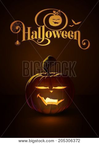 Vector illustration of a Cool Vimpire jack-o-lantern glowing in the dark. Included a custom typography