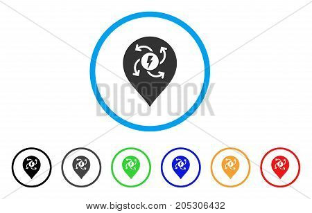 Electric Motor Marker rounded icon. Style is a flat electric motor marker grey symbol inside light blue circle with black, gray, green, blue, red, orange variants.