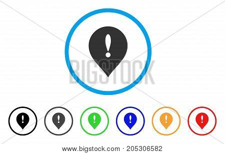 Exclamation Marker rounded icon. Style is a flat exclamation marker grey symbol inside light blue circle with black, gray, green, blue, red, orange versions.
