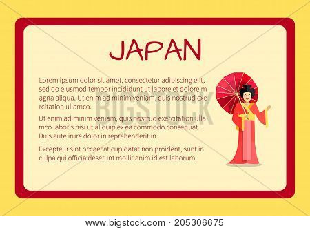 Japan framed touristic banner with national symbols and sample text. Smiling geisha in red kimono with paper umbrella flat vector illustration. Vacation in exotic country concept for travel company ad