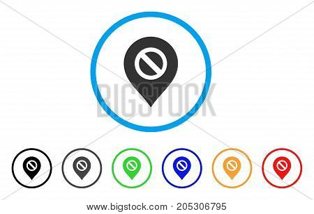 Forbidden Marker rounded icon. Style is a flat forbidden marker grey symbol inside light blue circle with black, gray, green, blue, red, orange color versions.