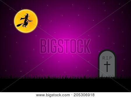 Halloween Gravestone Graveyard Witch Moon Background