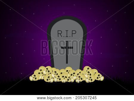 Halloween Skull Graveyard Gravestone Background