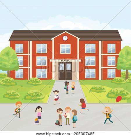 Group of elementary school kids in the school yard. Primary education. Cartoon vector illustration