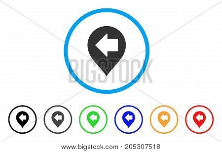 Left Arrow Marker rounded icon. Style is a flat left arrow marker gray symbol inside light blue circle with black, gray, green, blue, red, orange versions.