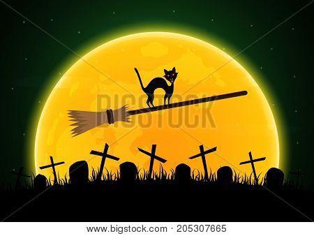 Halloween Witch Broomstick Graveyard Cat Moon Gravestone Background