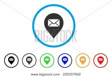 Mail Letter Marker rounded icon. Style is a flat mail letter marker grey symbol inside light blue circle with black, gray, green, blue, red, orange versions.
