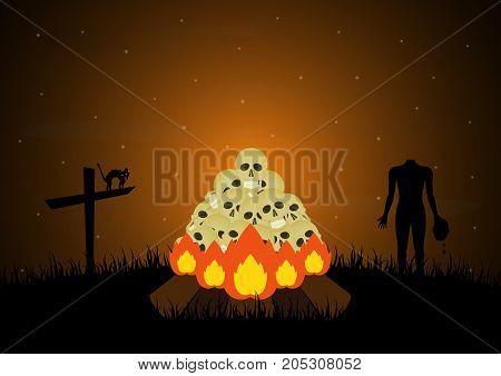 Halloween festival and celebration abstract background bonfire with skull graveyard cross cat headless zombie and copy space vector illustration.