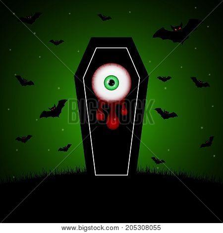 Halloween Coffin Blood Eyeball Graveyard Bat