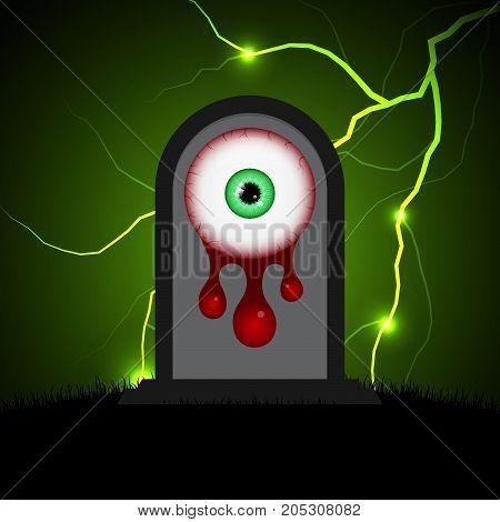 Halloween Gravestone Blood Eyeball Graveyard Thunderbolt