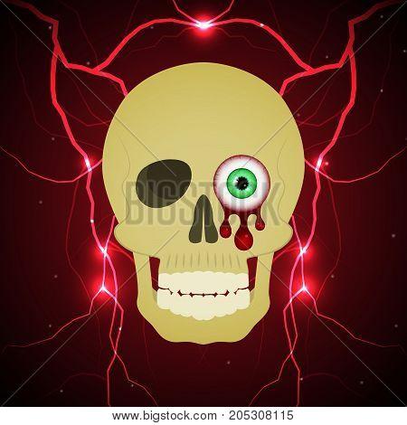 Halloween Blood Eyeball Skull Thunderbolt Lightning Background