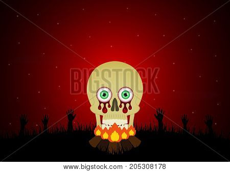 Halloween festival and celebration abstract background blood eyeball skull with bonfire graveyard zombie hand and copy space vector illustration.