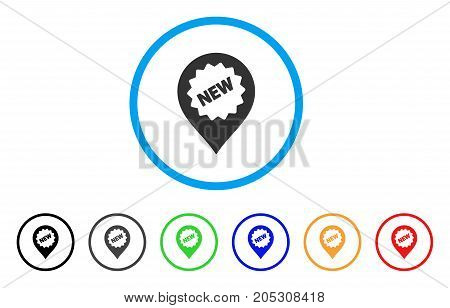 New Marker rounded icon. Style is a flat new marker gray symbol inside light blue circle with black, gray, green, blue, red, orange versions. Vector designed for web and software interfaces.