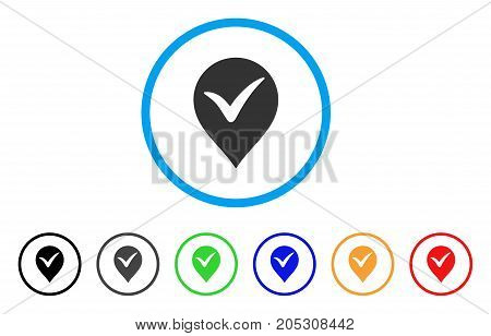 Ok Marker rounded icon. Style is a flat ok marker grey symbol inside light blue circle with black, gray, green, blue, red, orange variants. Vector designed for web and software interfaces.