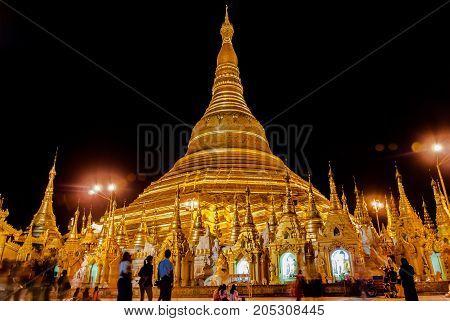 Shwedagon Pagoda in Yangon, Myanmar at night.
