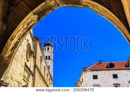 View at architecture in famous tourist destination in Europe, Dubrovnik old town.