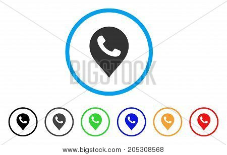 Phone Receiver Marker rounded icon. Style is a flat phone receiver marker grey symbol inside light blue circle with black, gray, green, blue, red, orange color versions.