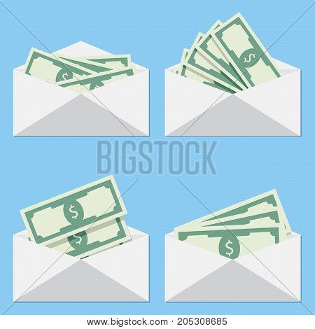 Cash in envelope salary money vector stack of cash dollar cash icon pile of cash illustration