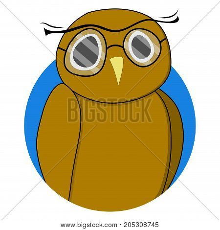 Wise owl sticker vector. Wisdom and cute owl owl icon and owl teacher illustration