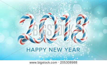 2018 Happy New Year Background Vector. Flyer Or Brochure Design Template 2018. Festival Holiday Decoration Illustration