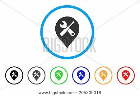 Repair Tools Map Marker rounded icon. Style is a flat repair tools map marker gray symbol inside light blue circle with black, gray, green, blue, red, orange color versions.