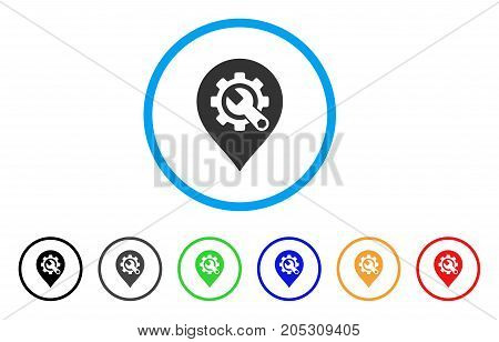 Service Tools Map Marker rounded icon. Style is a flat service tools map marker gray symbol inside light blue circle with black, gray, green, blue, red, orange color versions.