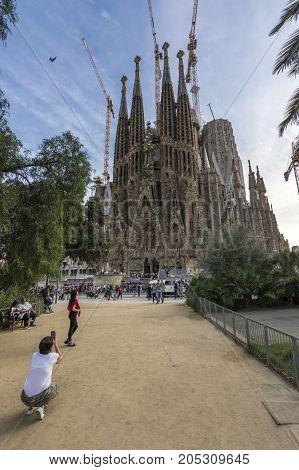 Barcelona, Spain. September 2017: View Of Sagrada Familia Catholic Church In Barcelona, Spain
