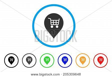 Supermarket Cart Marker rounded icon. Style is a flat supermarket cart marker grey symbol inside light blue circle with black, gray, green, blue, red, orange variants.
