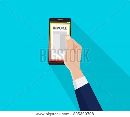 a bill invoice on the smartphone with hand and flat style long shadow vector