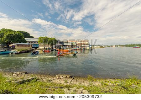 Labuan,Malaysia-Sept 17,2017:View of Labuan town Pearl Of Borneo,Malaysia.The name Labuan translates as port & it is Malaysia offshore financial centre & is a tax-free island