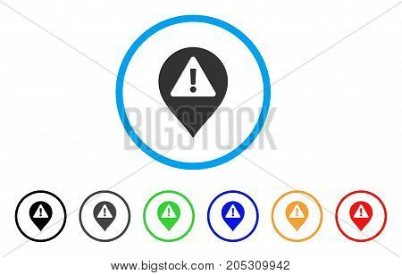 Warning Map Marker rounded icon. Style is a flat warning map marker grey symbol inside light blue circle with black, gray, green, blue, red, orange variants.