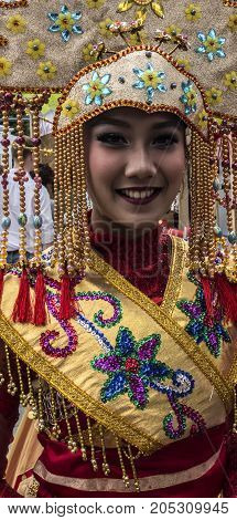 Moscow Russia - August 04 2017: Festival of Indonesia. Beauties from Indonesia. Beautiful girl in national indonesian clothes.